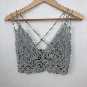 Free People Gray Lace Bralette Size Medium